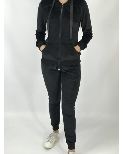 Velor black casual suit