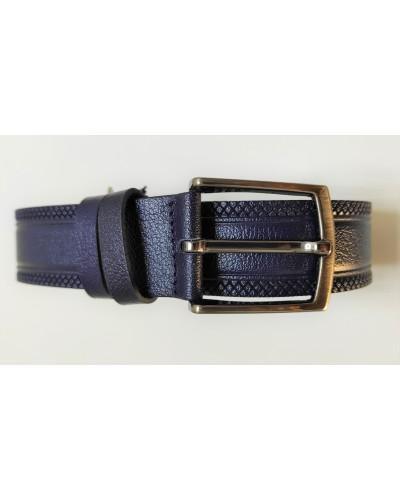 Men's dark blue leather belt