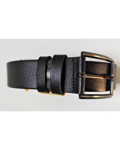 Men's black leather belt