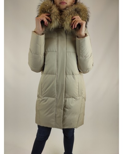 Down jacket with natural fur